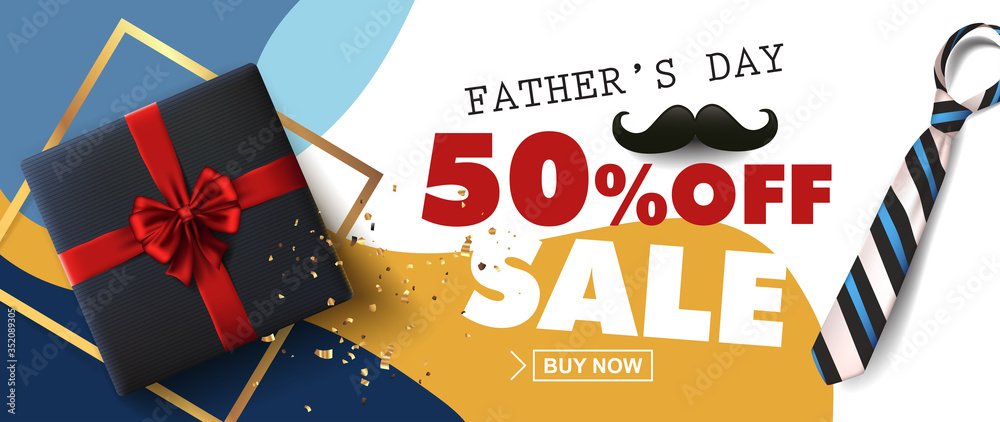 Fototapeta Happy Fathers Day Sale 50% off banner with gift for dad on white background.Promotion and shopping template for Father's Day.Vector illustration.