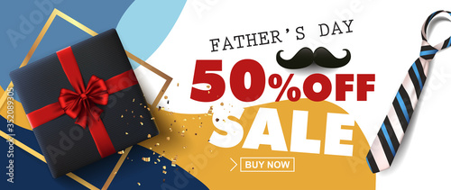 Obraz Happy Fathers Day Sale 50% off banner with gift for dad on white background.Promotion and shopping template for Father's Day.Vector illustration. - fototapety do salonu