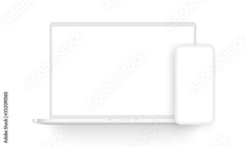 Fototapeta Clay laptop computer and mobile phone isolated on white background. Vector illustration obraz na płótnie