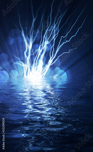 Electric  flash of lightning on a blue background Wallpaper Mural