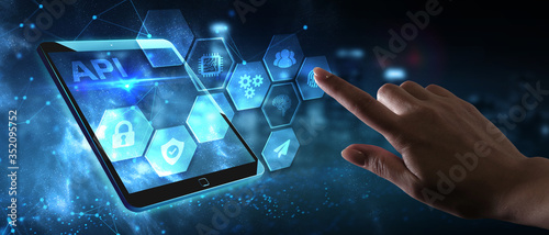Fototapeta API - Application Programming Interface. Software development tool. Business, modern technology, internet and networking concept. obraz