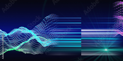 Fototapeta Abstract algorithm  analytical  background with  grid of data and shine  lines.  Business concept of artificial intelligence.  Quantum virtual cryptography. Big data. Analytics algorithms banner. obraz