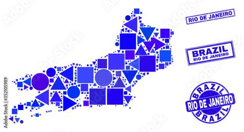 Photo Vector mosaic Rio de Janeiro State map