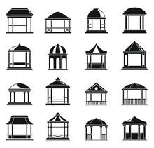 Wood Gazebo Icons Set. Simple ...