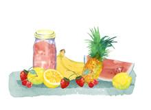 果物とジャム瓶