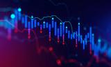 Fototapeta Miasto - Falling digital graph, stock market crisis