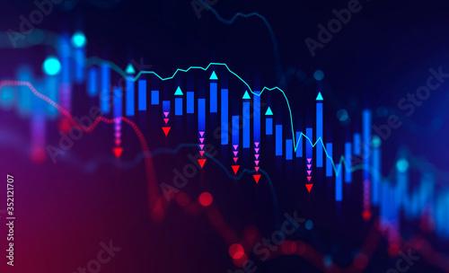 Obraz Falling digital graph, stock market crisis - fototapety do salonu