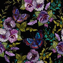 Violet Flowers, Meadow Herbs A...