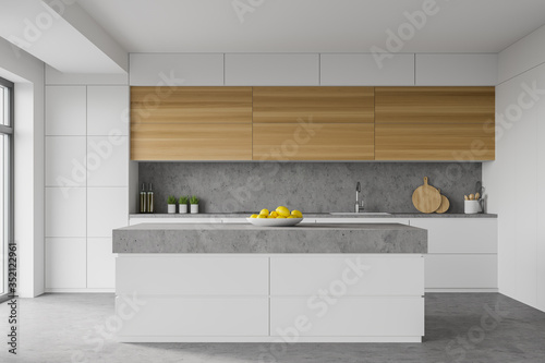 Obraz White kitchen interior with island - fototapety do salonu