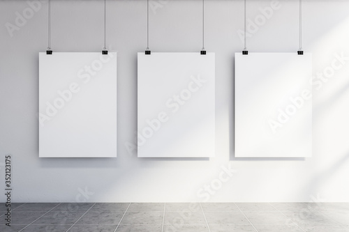 Fototapeta Three vertical mock up posters on white wall