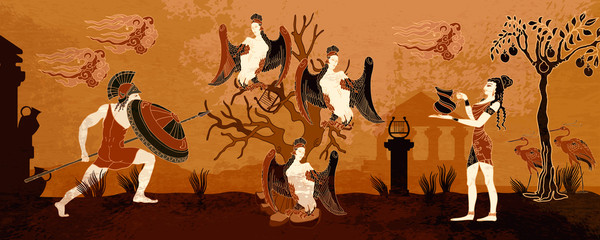 Fototapeta Struktura ściany Ancient Greece. Black figure pottery style. History and culture scene. Ancient Greek scene. Warriors. Legends art. Hero Hercules and harpy. Old mythology of Europe