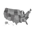 United States vector map, USA map in grey color palette, all states separately