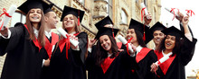 Happy Students With Diplomas N...