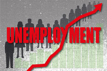 Red Unemployment Word With Line Chart Intersecting And Silhouettes Of Unemployed People