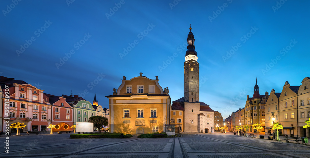 Fototapeta Boleslawiec, Poland. View of Market Square (Rynek) with historic building of Town Hall at dusk
