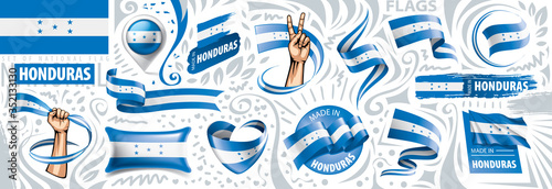 Fotomural Vector set of the national flag of Honduras in various creative designs
