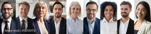 Obraz Smiling diverse business people group headshots portraits horizontal banner collage. Multiracial professional executives faces montage, human resource concept, multiethnic team people look at camera. - fototapety do salonu