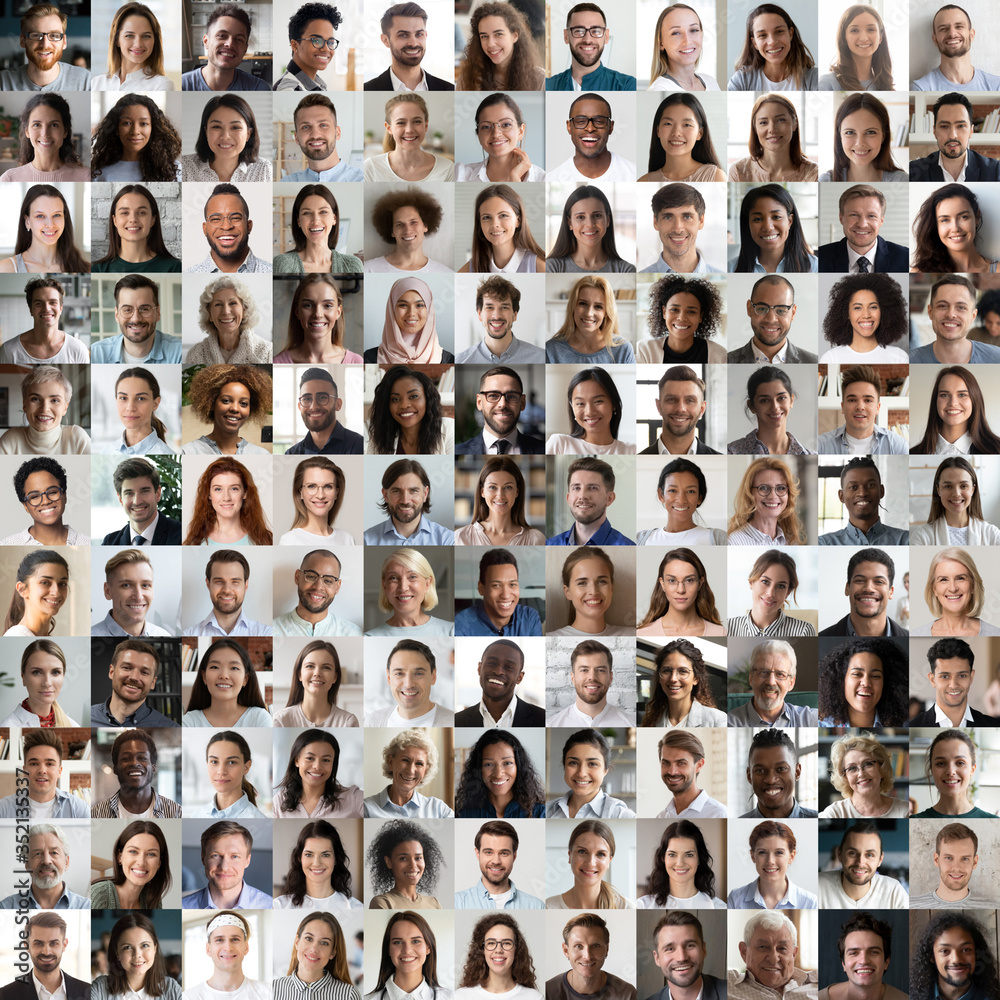 Fototapeta Lot of happy multiracial people looking at camera in square collage mosaic. Many smiling multiethnic faces of young and old diverse ethnic business people group headshots. Hr, staff, society concept.