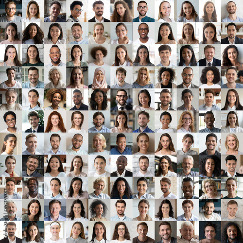 Lot of happy multiracial people looking at camera in square collage mosaic. Many smiling multiethnic faces of young and old diverse ethnic business people group headshots. Hr, staff, society concept. - 352135337