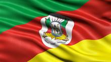 3D Illustration Of The Brazilian State Flag Of Rio Grande Do Sul Waving In The Wind.