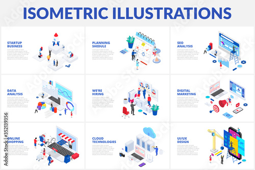 Obraz Isometric 3d illustrations set. Online shopping, planning, data analysis and startup business with characters - fototapety do salonu