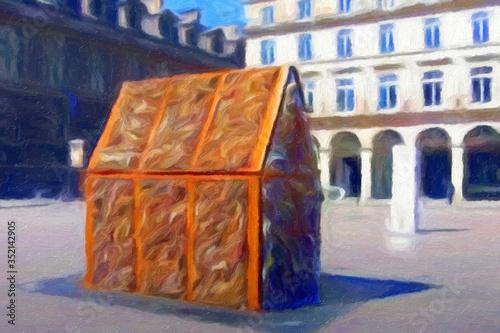 Tablou Canvas surréalisme, Art urbain, les cadenas du pont des arts et du ponts de l'archevêché récupérés et transformés en une petite maison exposée au Palais Royale