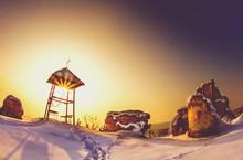 Gezebo On Snowy Hill