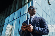 African Businessman With Smart Phone Outdoor