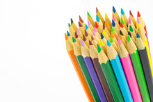 Bundle Of Colored Pencils On W...