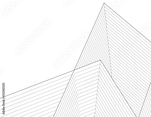 Fotografie, Obraz pyramid  abstract architecture 3d illustration sketch