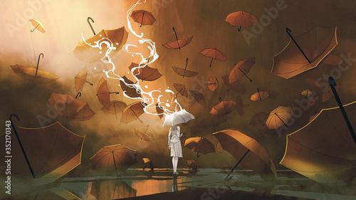 woman with white umbrella standing among many orange umbrellas, digital art style, illustration painting