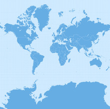 World Map In Web Mercator Projection (WGS 84 / Pseudo-Mercator, Spherical Mercator Projection, EPSG:3857). Detailed Vector Earth Map With Countries' Borders And 5-degree Grid.