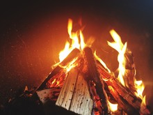 Close-up Of Camp Fire On Field At Night
