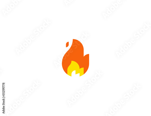 Flame vector flat icon. Isolated fire emoji illustration Wallpaper Mural