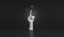 3d Illustration Of White Decorative Female Mannequin Hand Isolated On Luxury Black Background, Elegant Mannequin Hands Pointing Up For Fashion Concept And Jewelry Display, Spinning Golden Ring