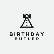Birthday Maid Logo. Waitress Icon