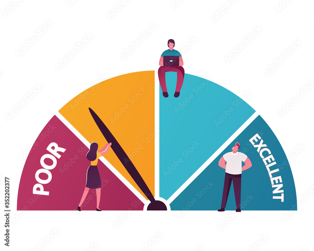 Fototapeta Tiny Male and Female Characters Analyze Credit Rating Choose between Poor and Excellent Banking Conditions. People at Scale, Man Work on Laptop, Solvency, Creditworthiness. Cartoon Vector Illustration