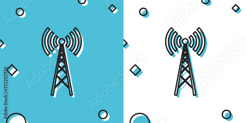 Black Antenna icon isolated on blue and white background Wallpaper Mural