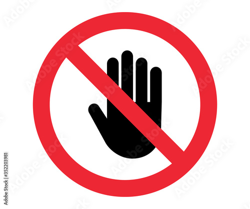 Stop, no entry sign palm crossed red symbol vector Fototapete