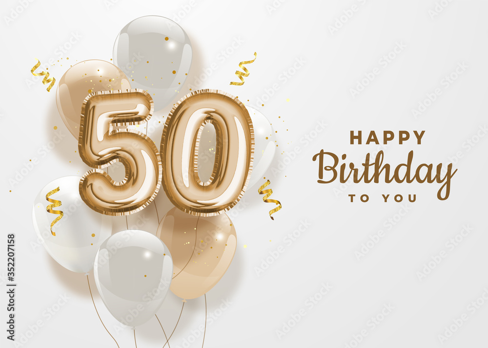 Fototapeta Happy 50th birthday gold foil balloon greeting background.50 years anniversary logo template- 50th celebrating with confetti. Vector stock.