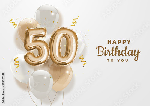 Happy 50th birthday gold foil balloon greeting background Fototapet