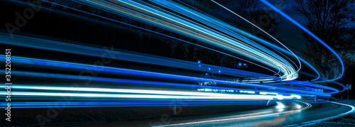 blue car lights at night. long exposure #352208151