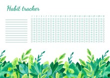 Habit Tracker For Month Templa...