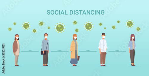 Obraz people in face masks men women standing line queue keeping distance to prevent covid-19 social distancing coronavirus pandemic health care concept horizontal full length vector illustration - fototapety do salonu
