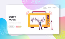 Geological Cataclysm Landing Page Template. Tiny Scientists Characters Look On Huge Seismograph Machine Drawing Graph Line Depicting Seismic And Earthquake Activity. Cartoon People Vector Illustration