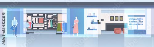Obraz modern fashion shop interior empty n people clothes store horizontal vector illustration - fototapety do salonu