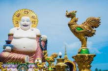 Giant Buddha Statue, Pu Tai, Happy Buddha Or Laughing Big Buddha At Wat Plai Laem Temple On Koh Samui In Thailand