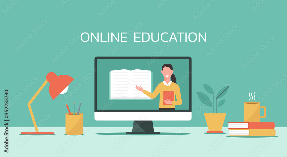 Fototapeta E-learning, online education, online course concept, home school, woman teacher teaching on laptop computer screen, distance learning, new normal, vector flat illustration