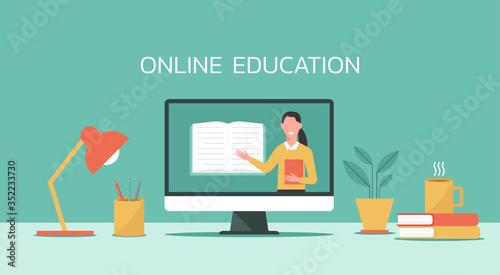 E-learning, online education, online course concept, home school, woman teacher Canvas