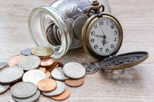 Vintage Pocket Watch And Coins...